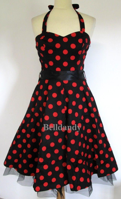 robe dos nu pin up r tro 50 39 s pois noir rouge vetements. Black Bedroom Furniture Sets. Home Design Ideas