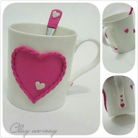 polymer clay mug doodle pinterest fimo knete fimo und knete. Black Bedroom Furniture Sets. Home Design Ideas