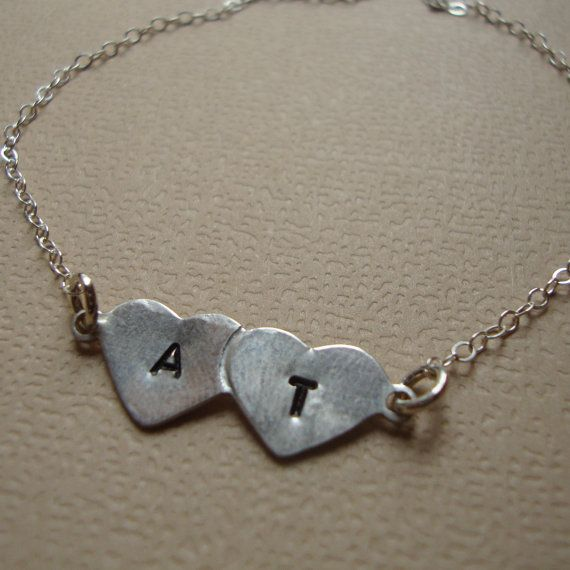 Best Friends Bracelet Hand Stamped Hearts Engraved by lizix26