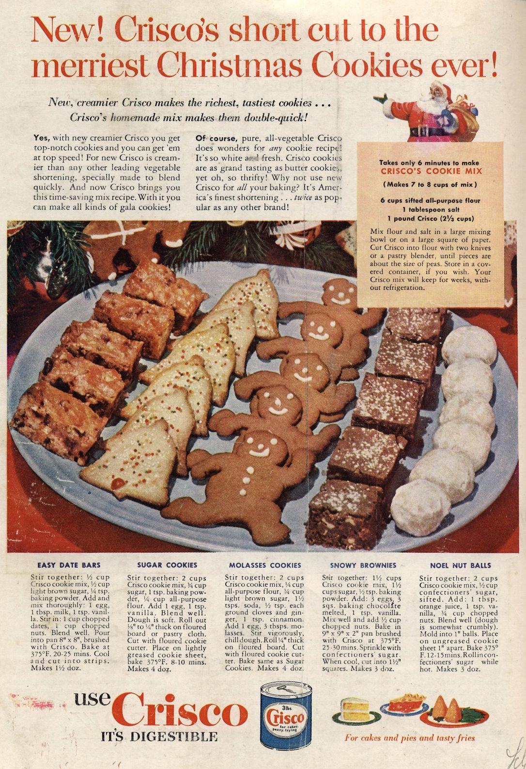 C 1952 Food N Things Vintage Recipes Best Holiday Cookies