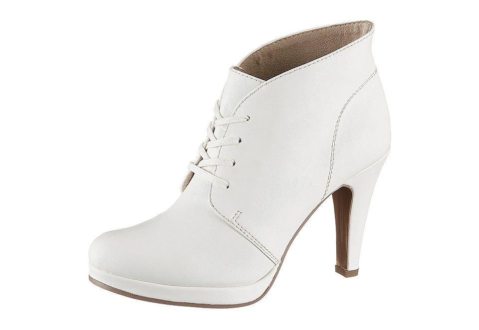 High Heel Ankle Boots, Tamaris, Lederimitat, Futter: Textil, Decksohle aus Textil, Synthetik-Laufsohle, 90 mm Absatz, 15 mm Plateau, Schuhweite: Weite F (normal), Schnürung, Exklusiv bei uns....