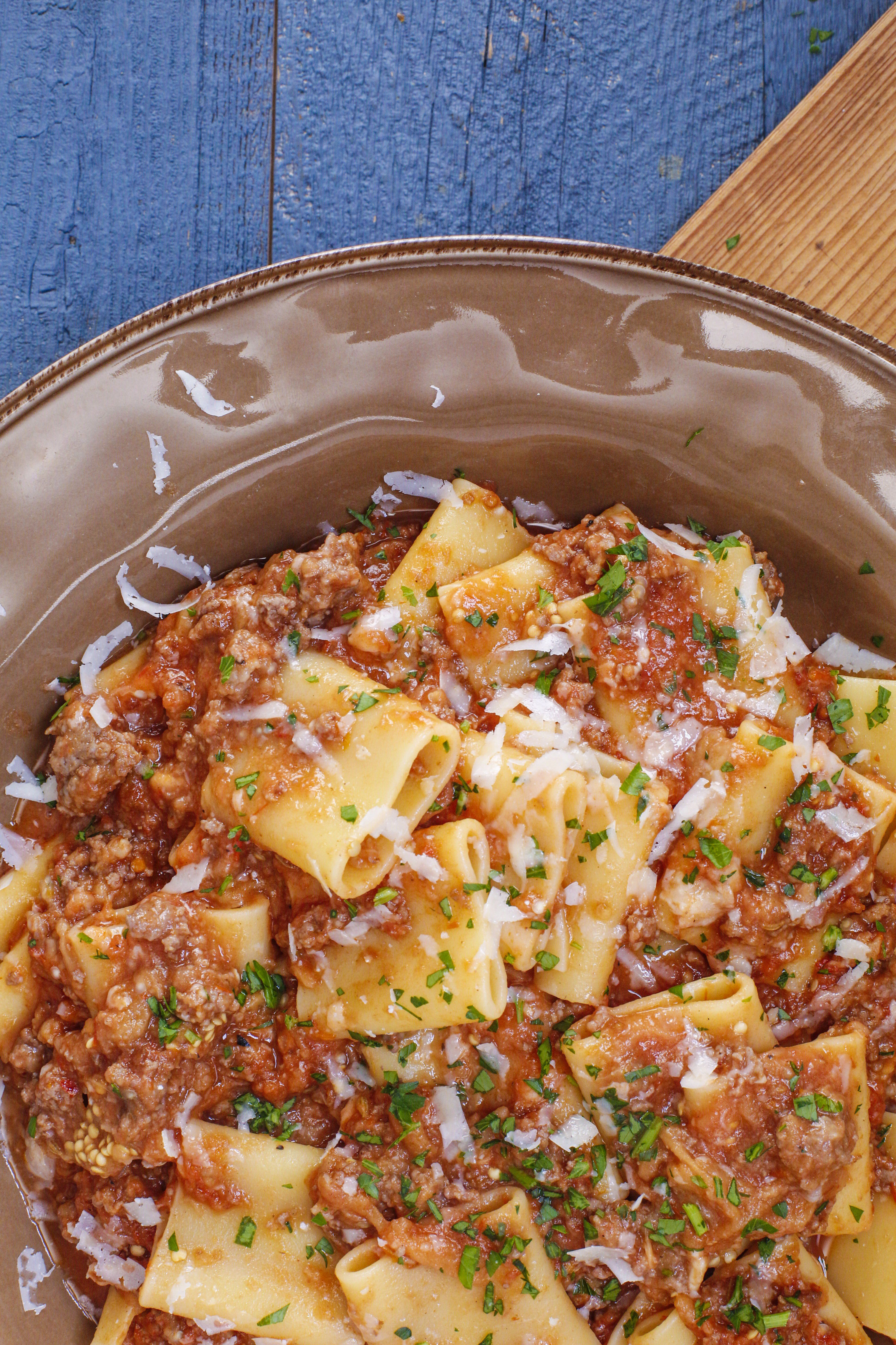 Rachael S Charred Eggplant And Meat Sauce With Paccheri Recipe