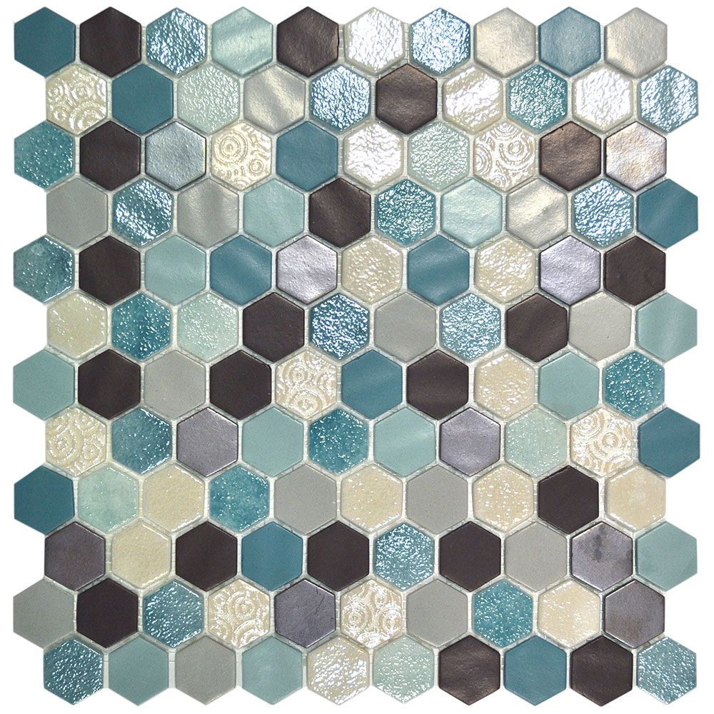 Serious Gorgeous Hexagon Mosaic Tiles With Teal Tones Https Www