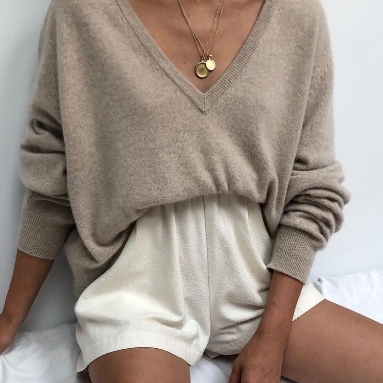 969b95562803 Loose Brown Knitted V Neck Sweater