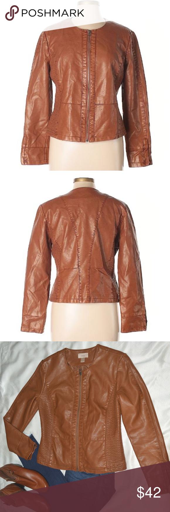 Loft Seamed Faux Leather Jacket Sleek and stylish, this