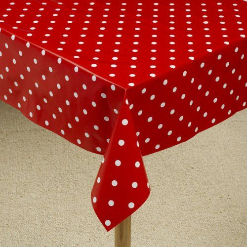 Vinyl Wipe Clean Tablecloth Red Polka Dot Design 108 X 54 Shop4tablecloths Vinyl Tablecloth Vinyl Table Covers Polka Dot Tablecloth