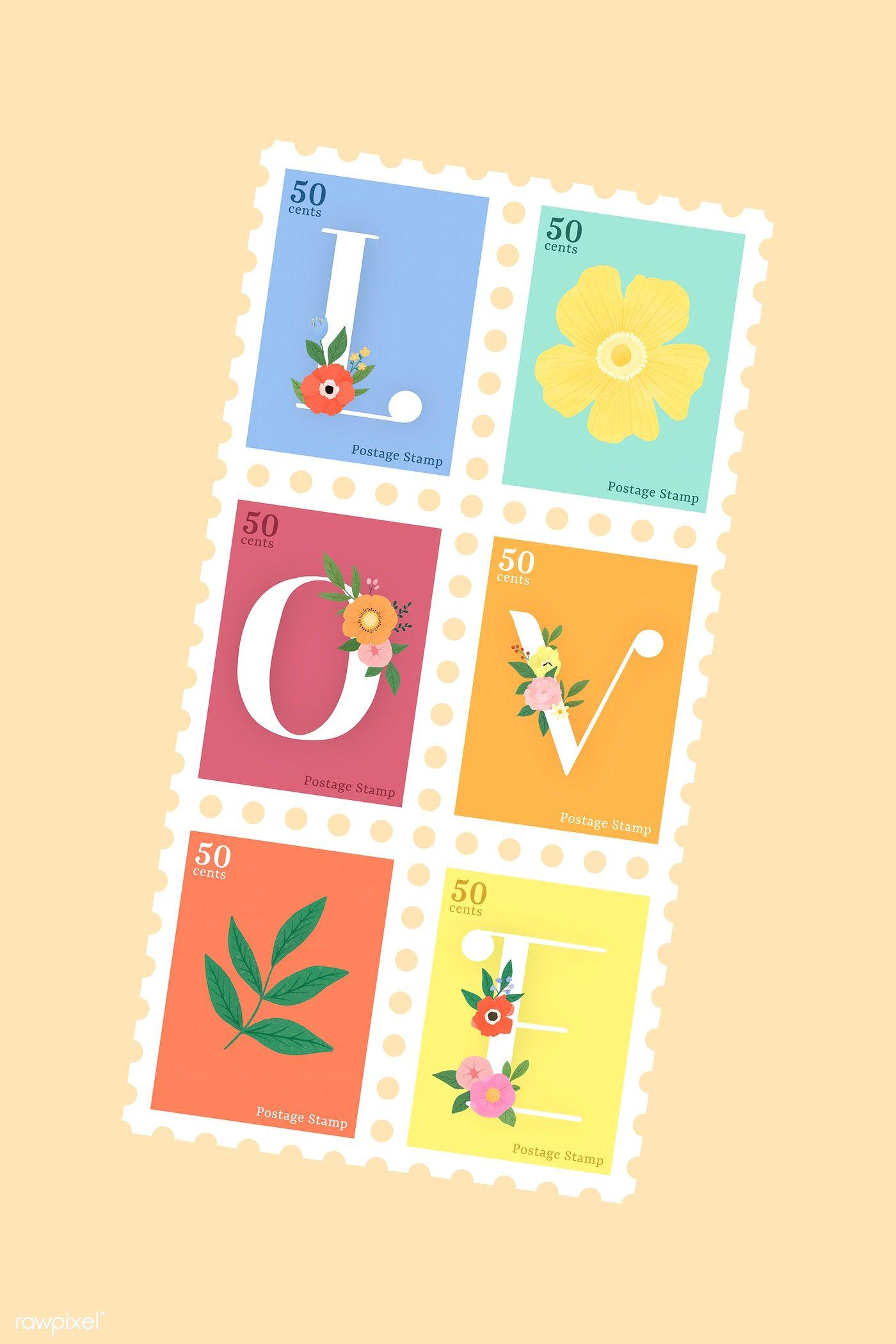 Download Premium Vector Of Elegant Floral Love Lettering Stamp Vector Set Lettering Alphabet Fonts Floral Font Stamp