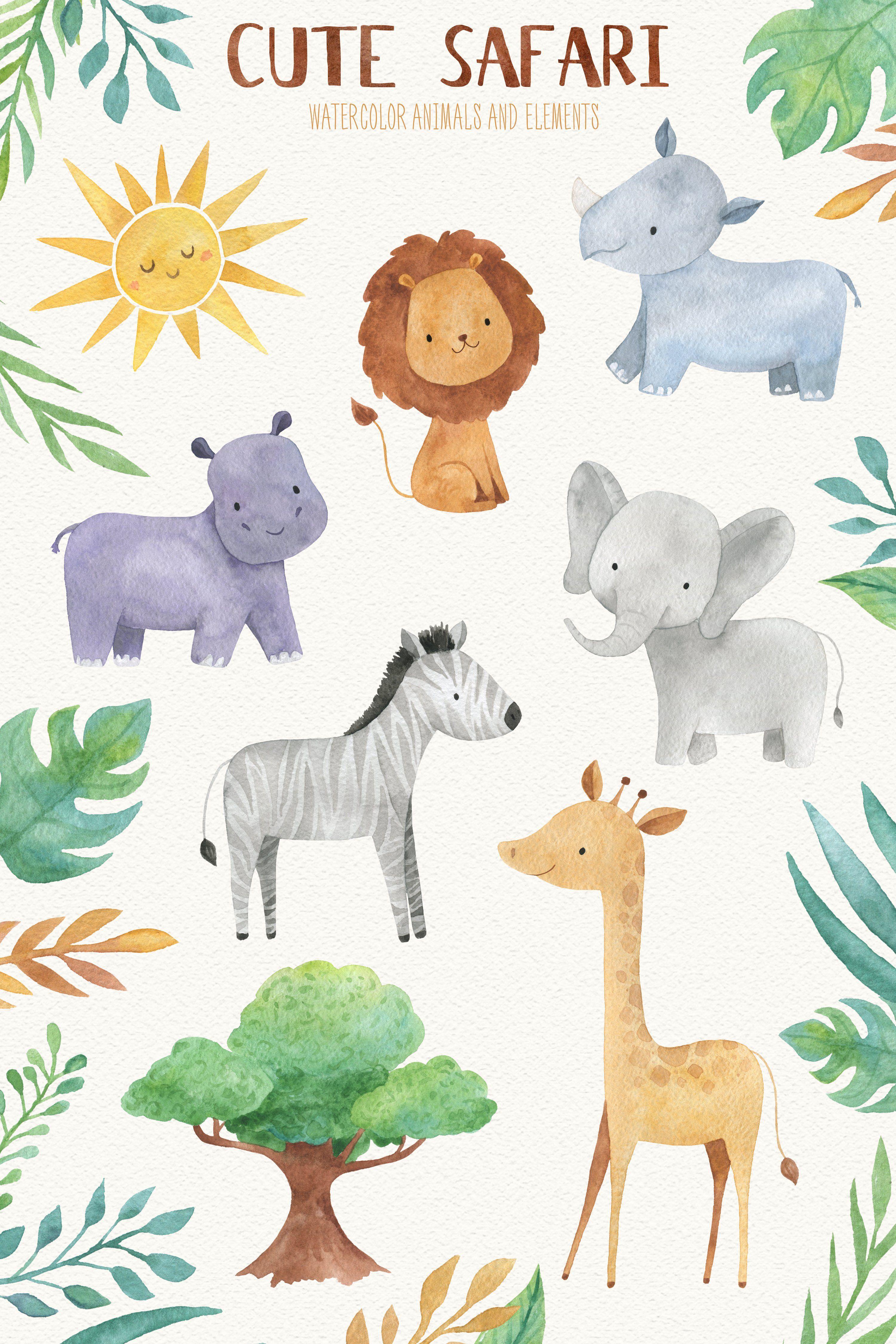 Cute Safari Watercolor Clipart Animal Illustration Kids Baby Illustration Baby Art