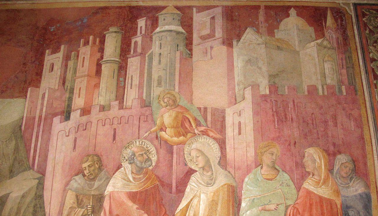 Lorenzo Monaco - 2) Annuncio a Gioacchino e Incontro tra Gioacchino e Anna alla Porta Aurea, dettaglio (Parete  sinistra) - affresco - 1420-1424 - Cappella Bartolini Salimbeni - Firenze, Basilica della S. Trinità