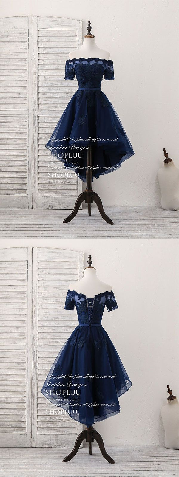 Dark blue tulle lace short prom dress dark blue homecoming dress in