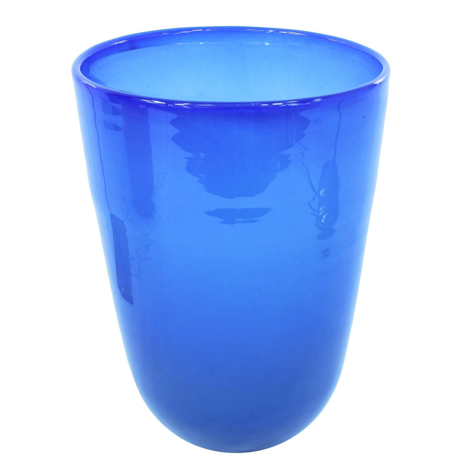 This listing is for one Home Decoration Handmade Royal Blue Extra Large Thick Walled Recycled Glass Vase, H = 33 cm. Price £49.99