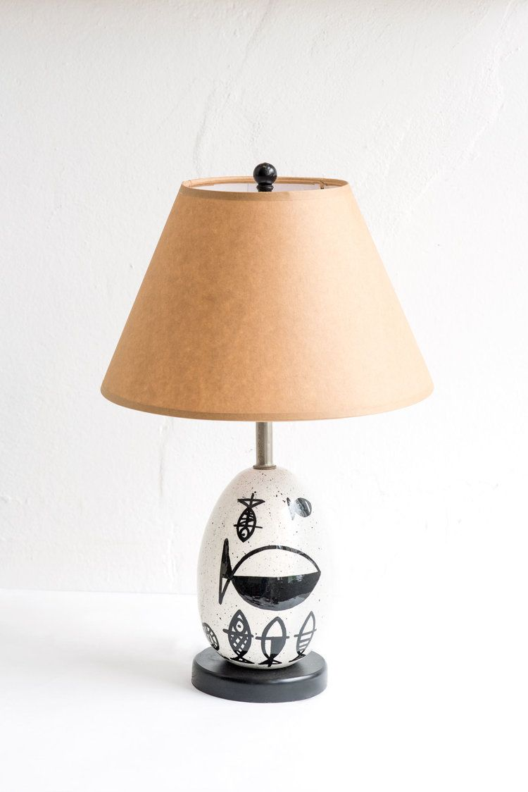 Vintage Black And Cream Hand Painted Fish Lamp With Tan Shade