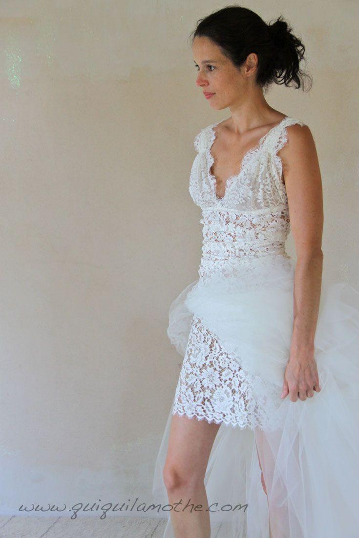 Robe de mariée courte simple dentelle et tulle robes de mariées