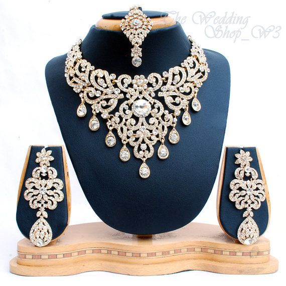 Elegant Bridal Set Heavy Gold Plated Diamante Crystal Vintage Indian