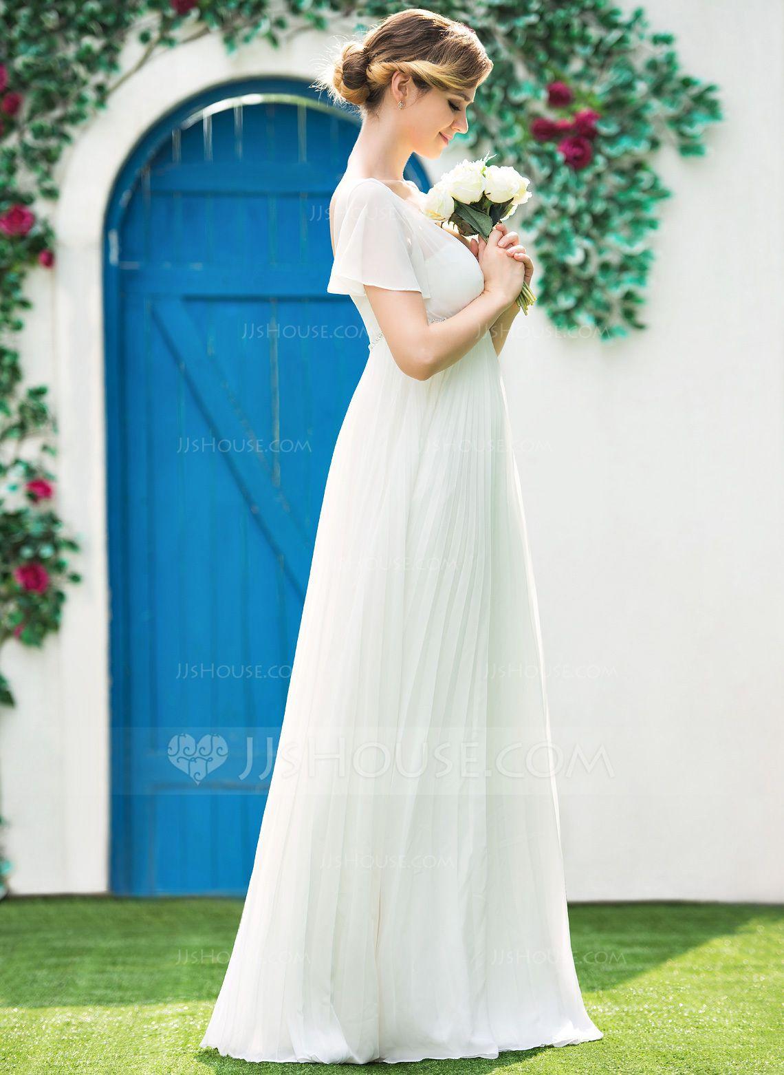 Empire vneck floorlength chiffon wedding dress with beading