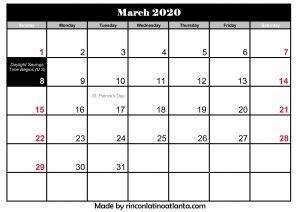 march 2020 calendar with holidays | calendar printable 2020