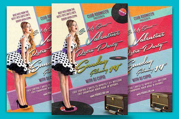 Valentine Retro Party Flyer Template Pinterest Retro party - retro brochure template