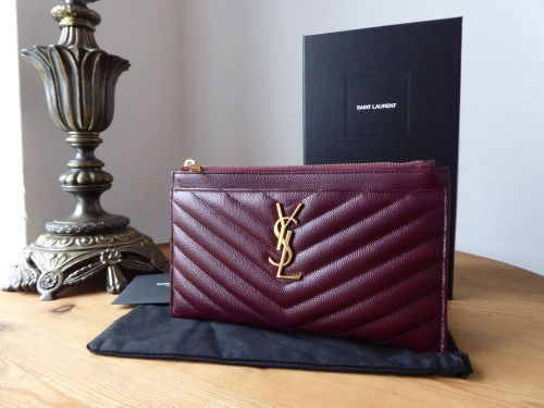 37a470fde2 Saint Laurent YSL Classic Monogram Zipped Bill Pouch in Dark Legion Red Grain  De Poudre Textured Matelasse