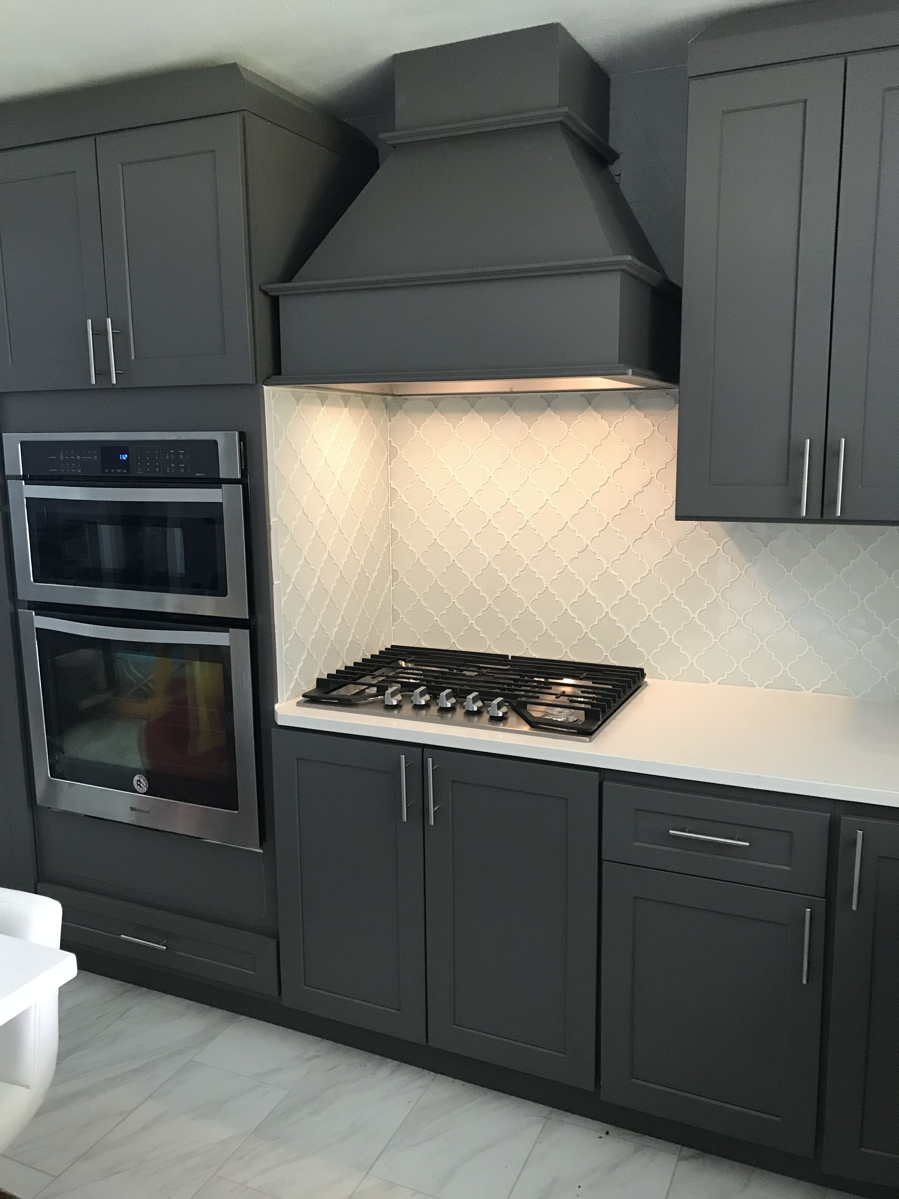Backsplash tile on cabinet. Grey and white kitchen. Glass ...