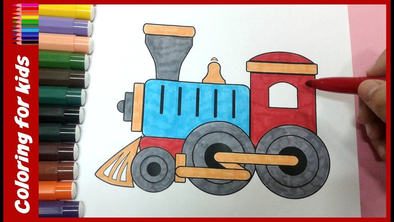 colouring pages for kids : How to color train coloring page , coloring pages shosh channel