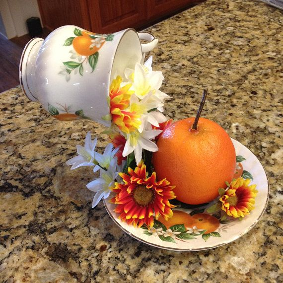 Floating tea cup orange teacup centerpiece