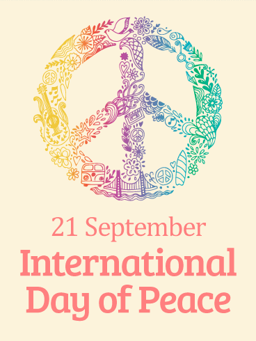 Rainbow Peace Symbol International Day Of Peace Card Peace Love