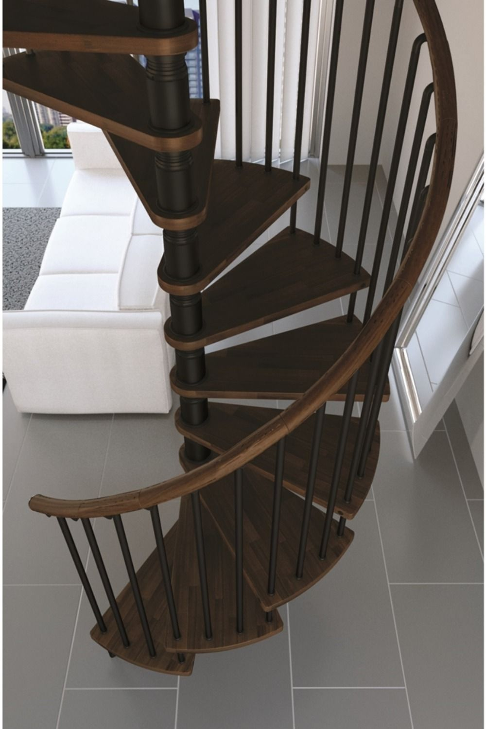 Spiral Stair Kit Walnut Wood Spsgw Wal Architectural   Painting Metal Spiral Staircase   Stair Case   Staircase Kit   Stair Railing   Powder Coating   Spray Paint