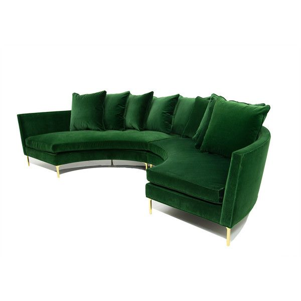 Sardinia Sectional In Emerald Velvet Liked On Polyvore Featuring Home Furniture Sofas Demilune Half Round Couch Circle Sofa