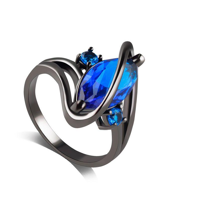 F & U Black Plated Zinklegering Blauw en Paars Zirkoonkristal Mode Unieke Ontwerp Ring voor Cadeau meisje