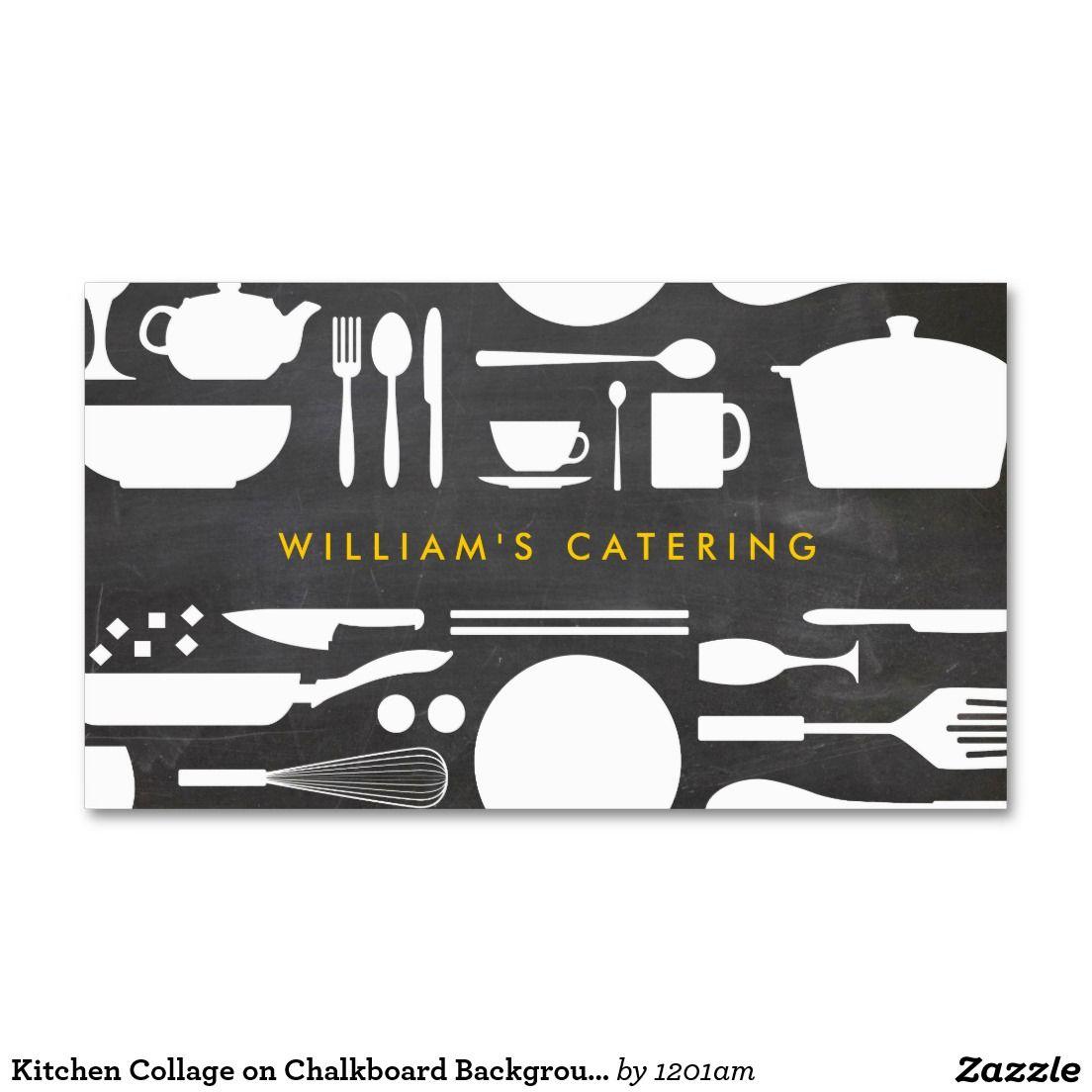 Kitchen Collage on Chalkboard Background Business Card | Chalkboard ...
