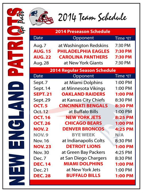 Patriots Football Schedule 2019 Details about New England Patriots 2019 NFL Football Schedule