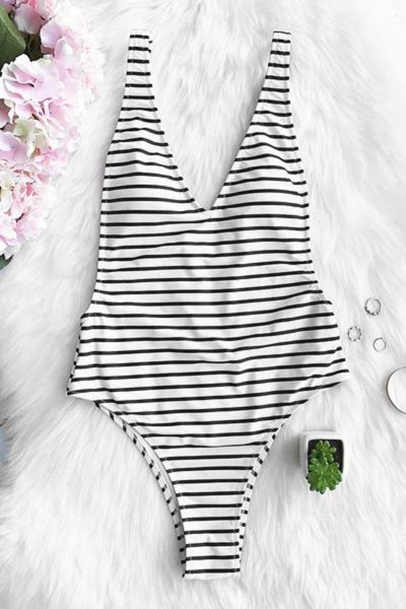 f10d480162 Product Description: Buy Spring Summer 2018 Swimwear Trends Women's Black  Stripe Plunging Deep V-neck Padded One Piece Swimwear Bathing Suit on Sale  by ...