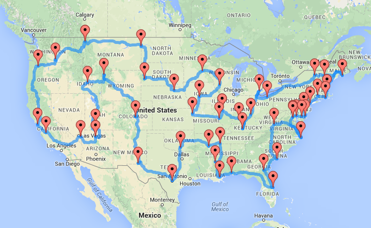 Road Trip All 50 States Route Map Google Search Road Trip Map