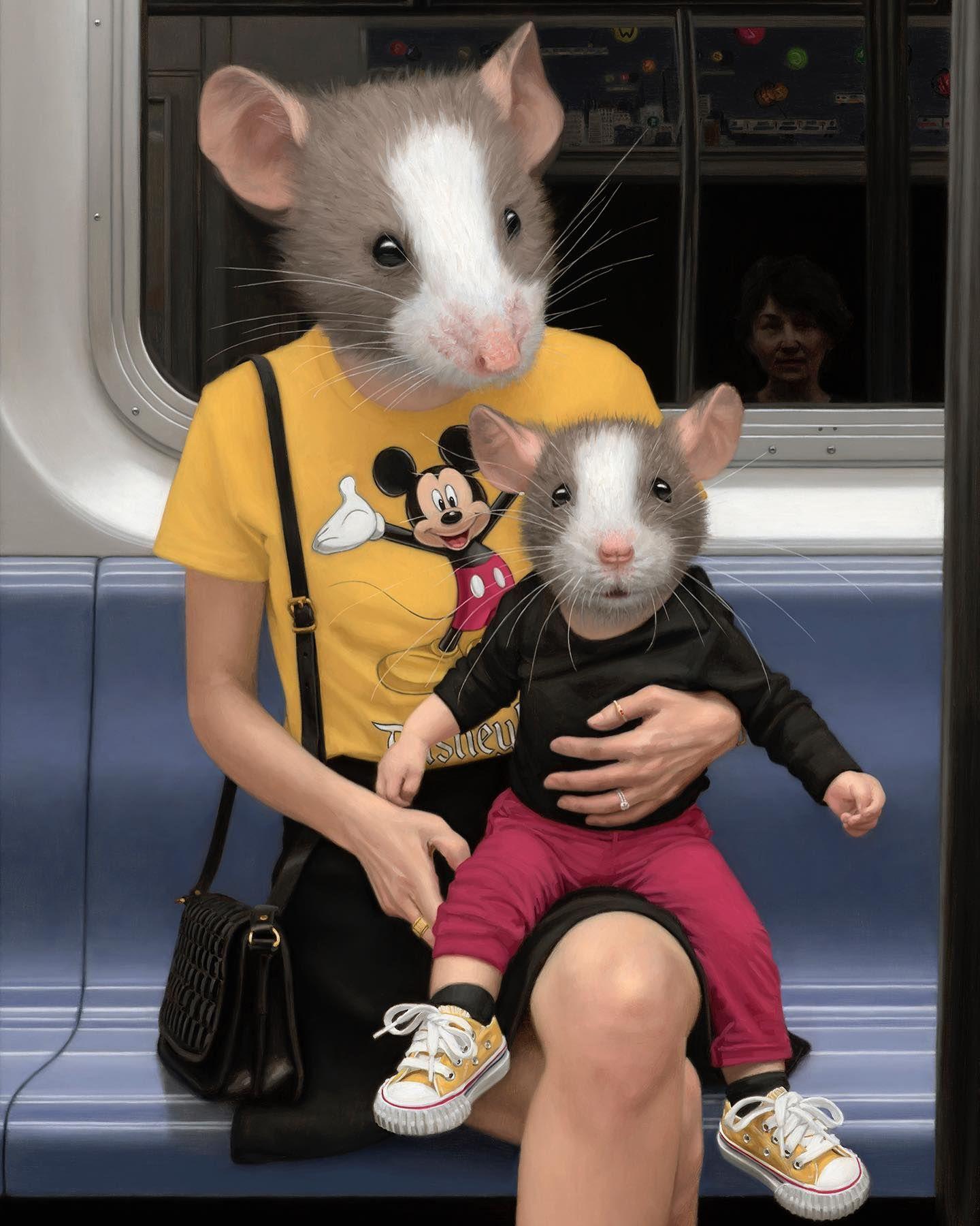 La Fauna Del Metro De Nueva York En La Pintura De Matthew Grabelsky Cultura Inquieta En 2020 Pintura Surrealista Cabezas De Animales Animales