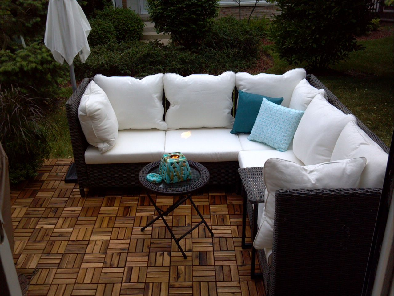 I transformed my ordinary 8x10 concrete patio into a little oasis outdoor teak floor tiles platta and umbrella from ikea outdoor wicker resin sectional