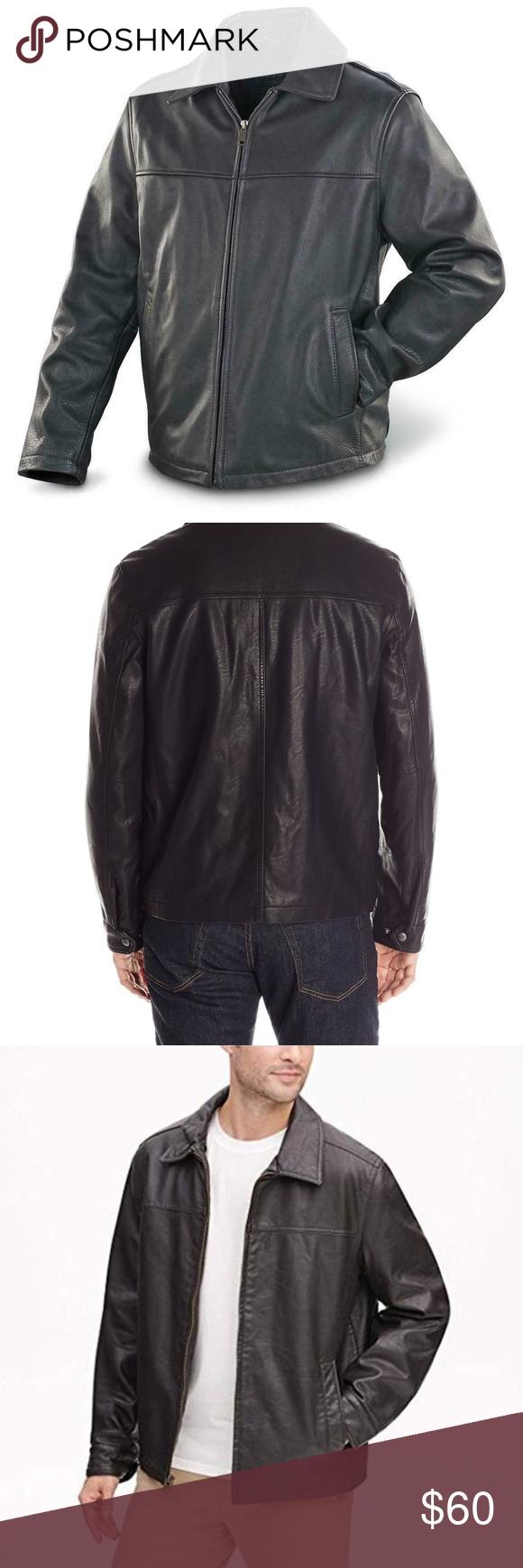 Docker Men's Coat Black Faux Leather Jacket New Black