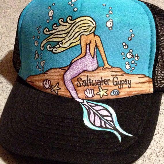 2e13f419949 Handpainted blonde mermaid trucker hat