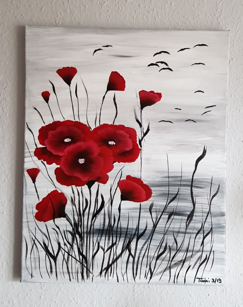 Mohnblumen Acryl Auf Leinwand Peinture Fleurs Aquarelle Chat Peinture