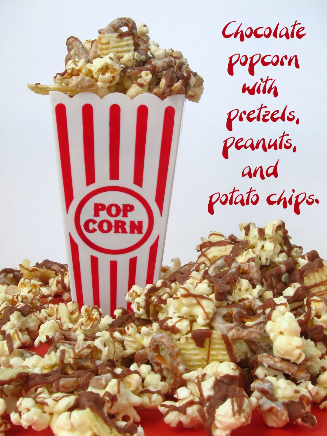 Hungry Happenings: Crunchy & Creamy Chocolate Popcorn with Peanuts, Pretzels, and Chips.