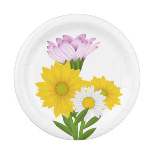 Floral Yellow Sunflower, Daisy Purple Flowers Paper Plate ...