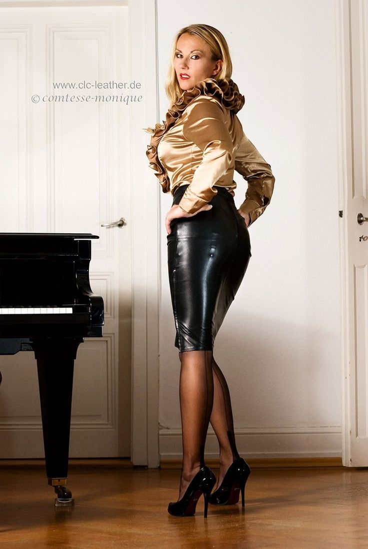 tight black leather pencil skirt with visible garter bumps