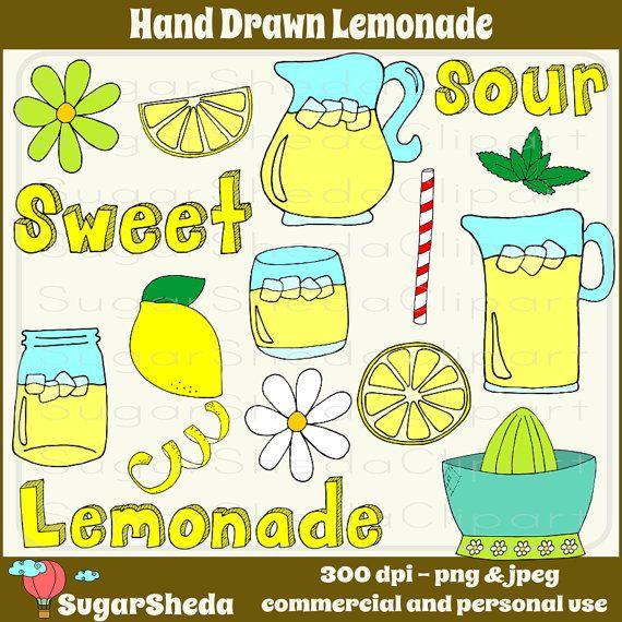 Hand Drawn Lemonade Digital Clipart Set  food by SugarShedaClipart, $3.00