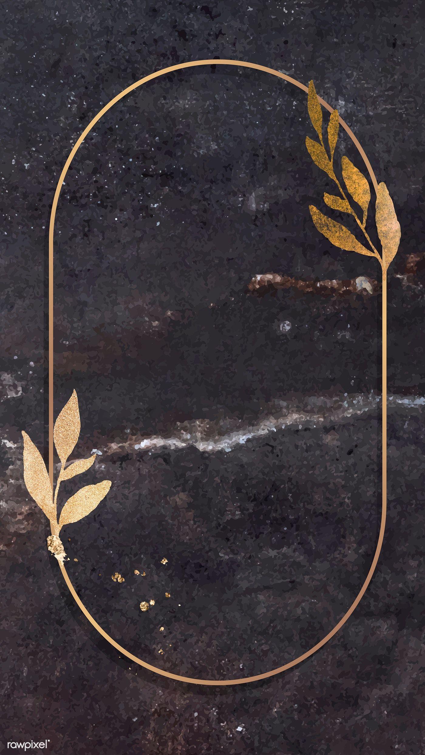 Download Premium Vector Of Christmas Golden Oval Frame On Black Marble Black Marble Background Marble Background Black Marble