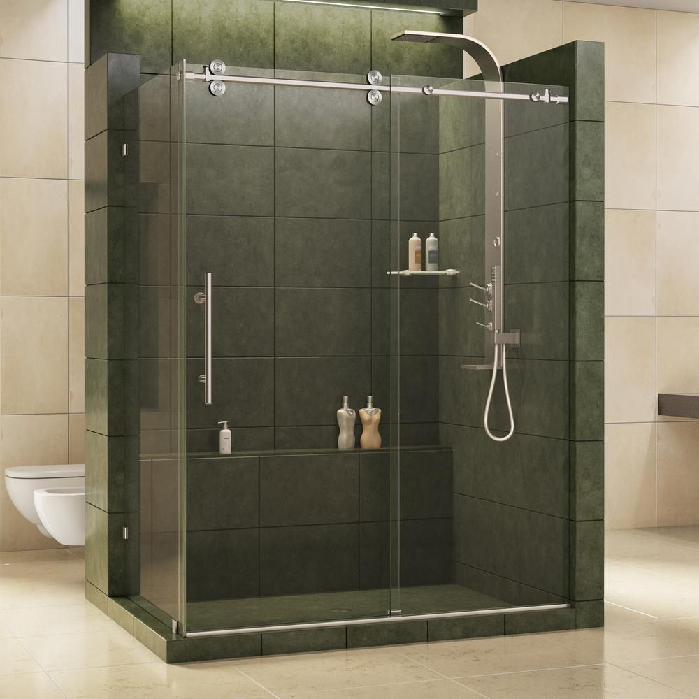 Dreamline Enigma 36 In X 60 1 2 In X 79 In Frameless Corner Sliding Shower Enclosure In Brushed Stainless Steel Shen 60366012 07 Shower Doors Shower Enclosure Frameless Shower Enclosures