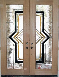 ArtGlassByWells | Contemporary custom leaded glass front doors in ...