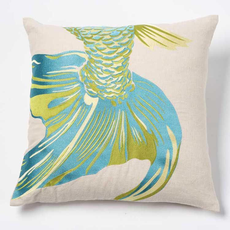 emma at home - Fishtail Pillow #fish #pillow $135