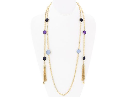 This layered look is stunning! We can't resist! - Katy Richards (Tm) Simulant Amethyst Gold Tone Wrap Tassel Necklace
