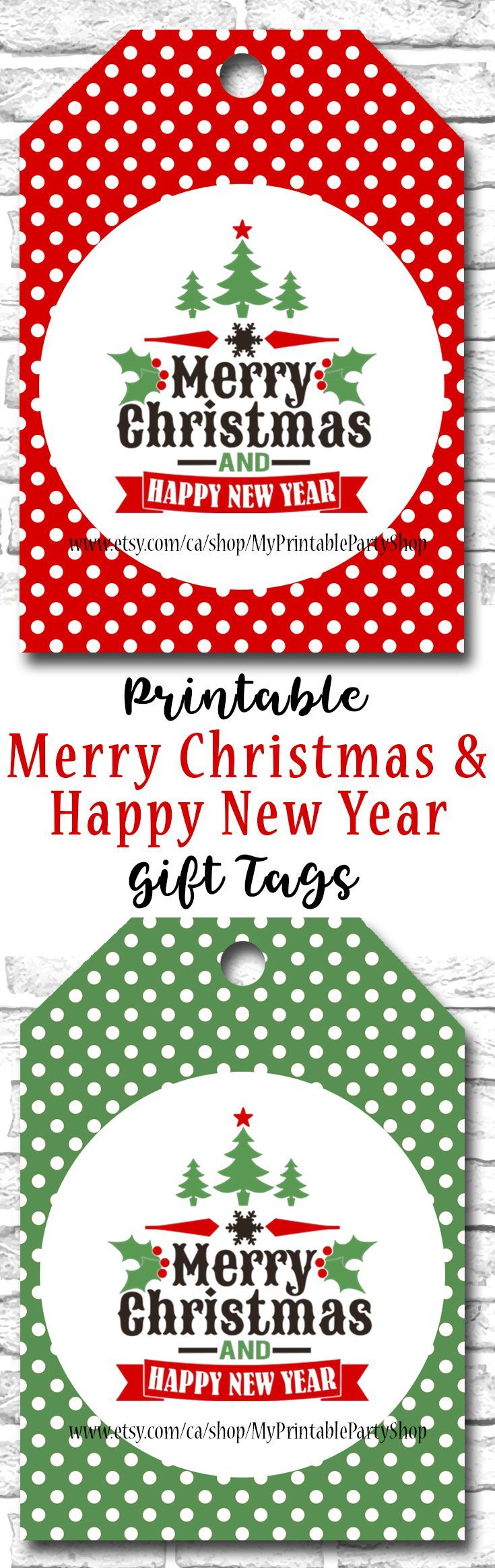 printable holiday gift tags christmas gift tags merry christmas and happy new year gift tags red green polka dot instant download wwwetsycom