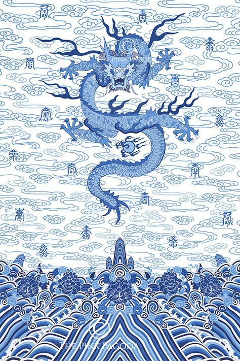 Chinese Imperial Dragon Robe in Blue and White in 2020