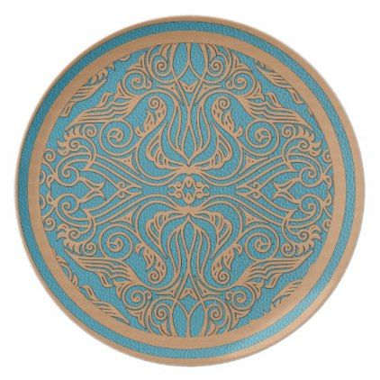 Leather Tooled Oriental Pattern on Teal Dinner Plate - retro kitchen gifts vintage custom diy cyo  sc 1 st  Pinterest & Leather Tooled Oriental Pattern on Teal Dinner Plate - retro kitchen ...
